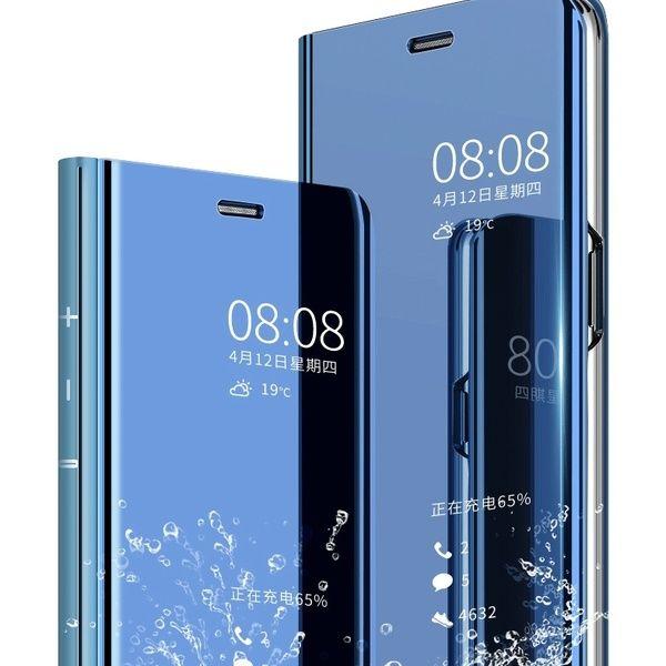 Luxury Mirror Smart Flip Phone Case Cover For Huawei Y6 2018 Y7 Pro 2018 Y9 2018 P20 Lite P Smart Coque Etui Housse Schutz Hulle Handy Tasche Movil Funda Carcasa Caso
