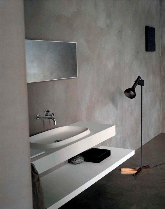 Baño Pequeno Microcemento:El microcemento es un material de revestimiento generalmente constuido