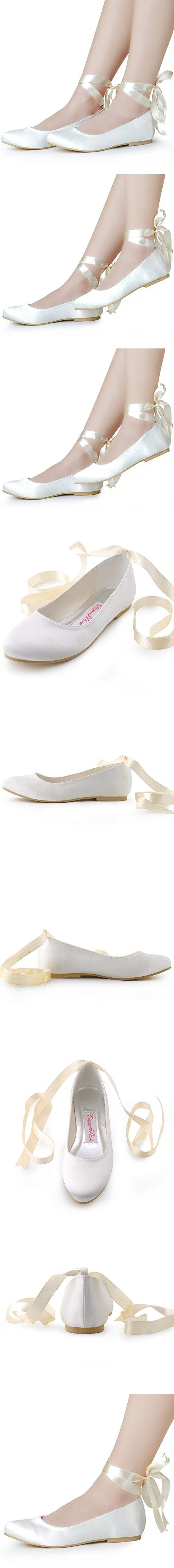 ElegantPark EP11105 Women's Closed Toe Low Heel Ribbon Tie Satin Wedding Bridal Flats Shoes Ivory US 7