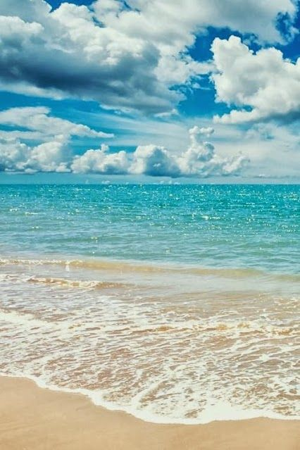 lovely beach on a mix of cloudy and sunny day with golden sand and sapphire blue sea. You go in the cold blue waves, feeling the water lapping over your feet. The sand is improbably golden and feels soft on your feet as you walk through it.