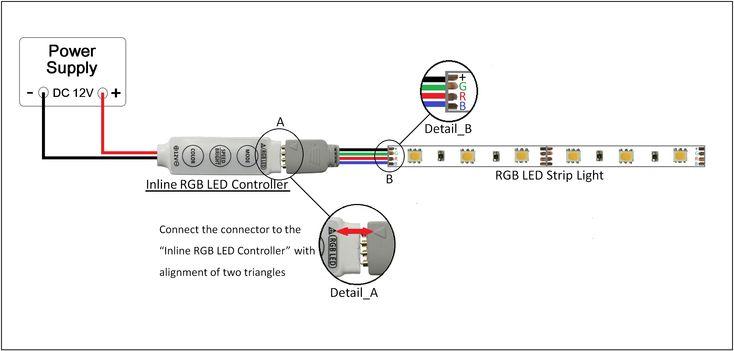 Rgb Led Strip Lights, Rgb Led Light Strip Wiring Diagram