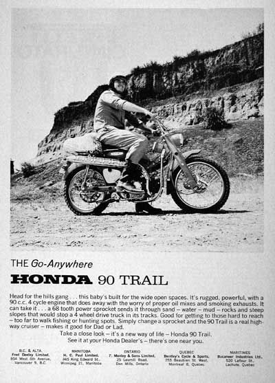 1966 Honda Trail Bike 90 vintage ad. It's rugged, powerful, with a 90cc 4 cylinder engine that does away with the worry of proper oil mixes and smoking exhausts.