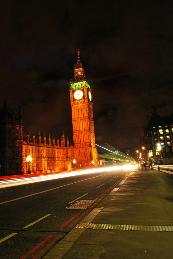Slow shutter speed light trails along Westminster bridge.