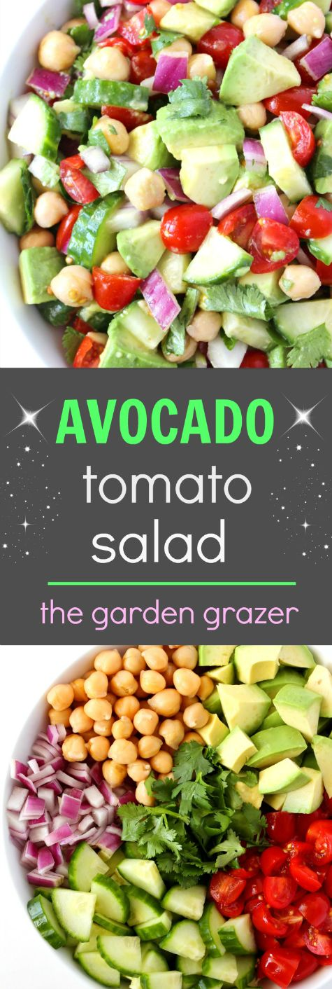 EASY and AMAZING!!! 7-ingredient Avocado Tomato Cucumber Salad with a protein boost! (vegan, gluten-free)
