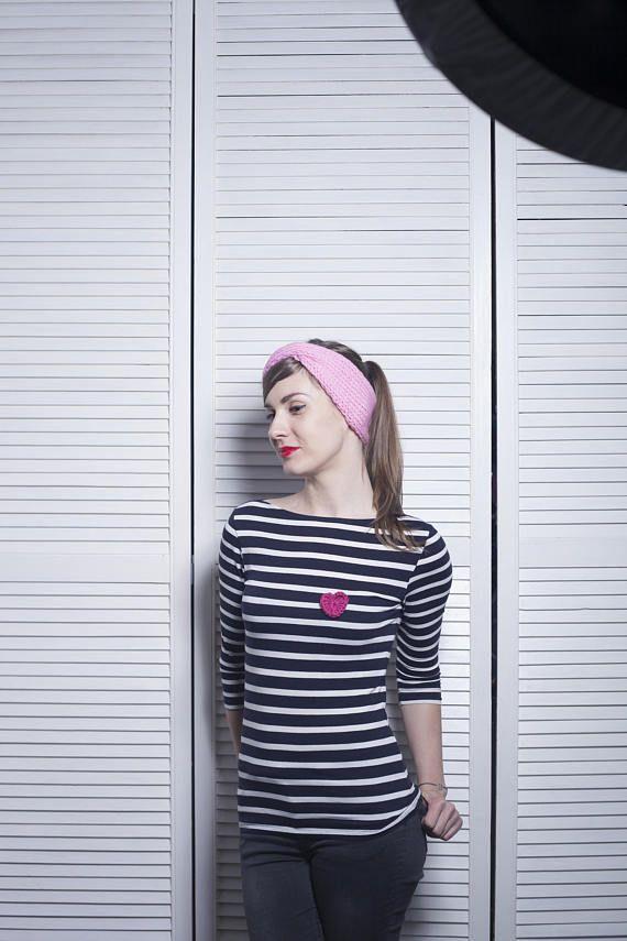 Pink Turban Ear Warmer Headband Boho Knit Headband with