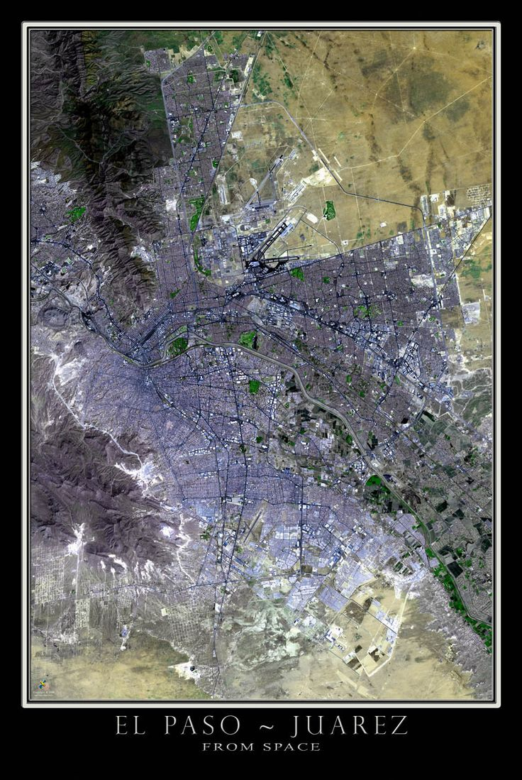El Paso Texas Satellite Poster Map