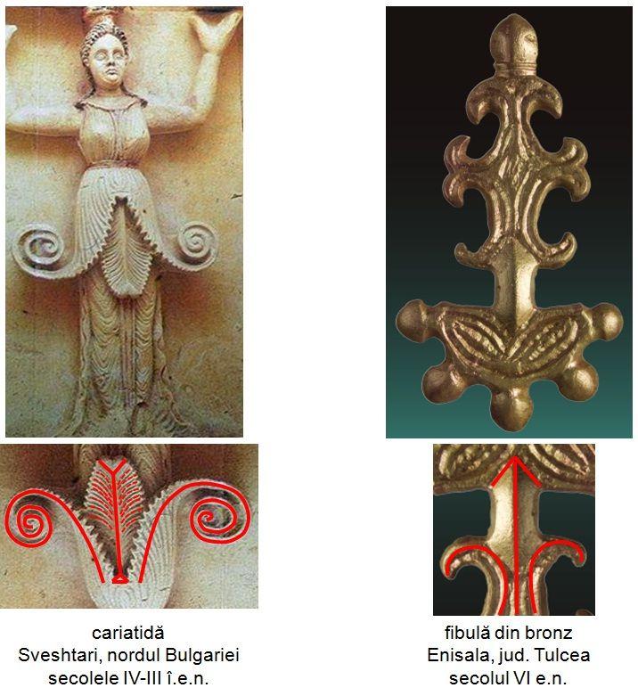 Fibula din bronz descoperită la Enisala, judeţul Tulcea, datând din secolul VI e.n.