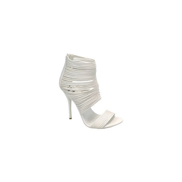 Miss Me DIVA-17 Strappy Sandal (White) ($30) ❤ liked on Polyvore featuring shoes, sandals, miss me shoes, strappy shoes, white strappy sandals, white strap shoes and miss me sandals