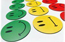 30 bunte Smiley Magnete (10 gruene lachende Smileys / 10 gelbe neutrale Smileys / 10 rote traurige Smileys) / Durchmesser 2cm / z.B. fuer Praesentationen, Schulungen, Projektarbeit, Unterricht..