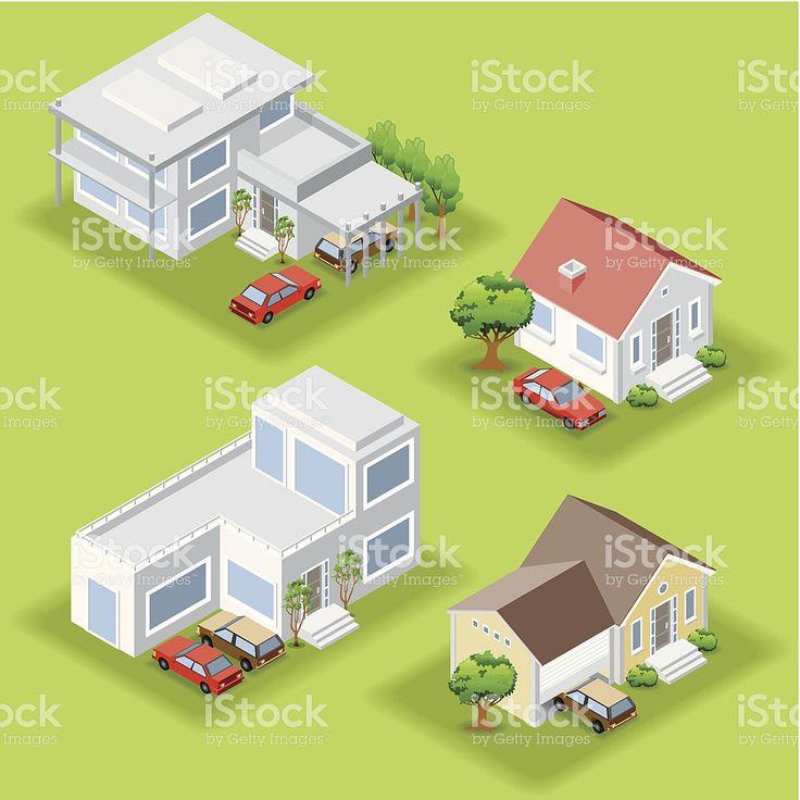 Isométrique maisons isométrique maisons – cliparts vectoriels et plus d'images de perspective isométrique libre de droits