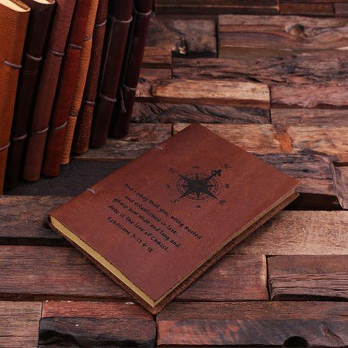 Wow! #Personalized Leather Notebook Journal AD Genuine cowhide leather 100 page (200 sides) travel journal, available in brown #leather of varying grades. The perfect gift for the graduate, writer, poet, office party or book club!