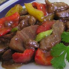 Chinese Pepper Steak III Recipe Main Dishes with top sirloin steak, soy sauce, white sugar, corn starch, ground ginger, vegetable oil, purple onion, green bell pepper, tomatoes