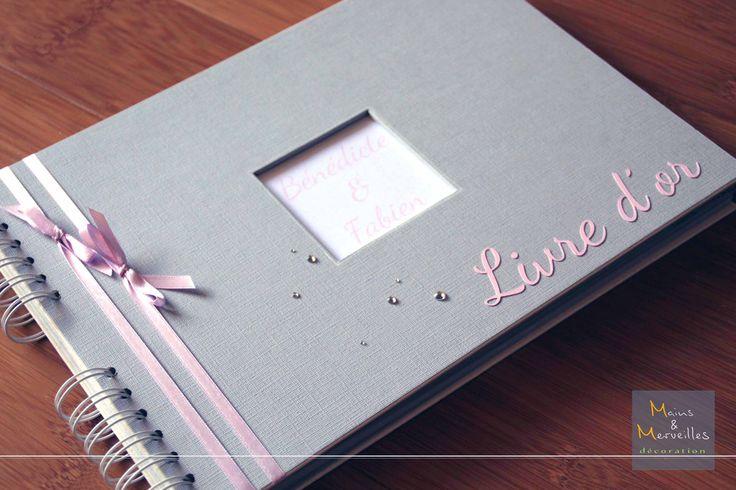 Livre d'or personnalisé Gris, Mauve & Rose poudré http://www.mainsetmerveillesdeco.fr/