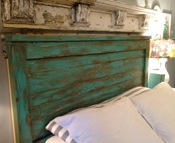 Distressed turquoise headboard. #bedroom