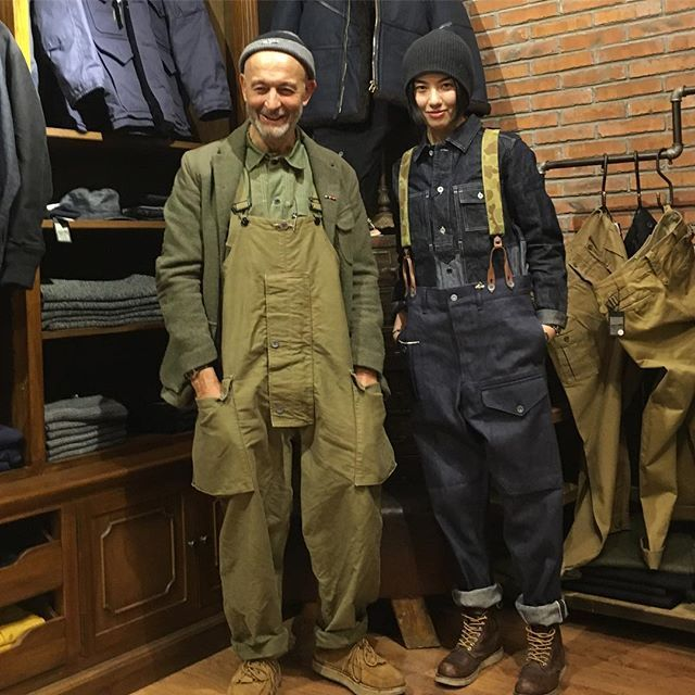 In Radiance Store Beijing girl customer Jin wearing small MENS Mainline Utility Japanese denim shirt and Lybro British Army Pant in Japanese denim. @nigelcabournonline @nigelcabournjapan @nigelcabourn_woman