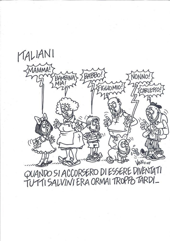 Tutti Salvini - 8 agosto 2017, Il Fatto Quotidiano. by Vauro Shop [IT] Disegno originale - Pennarello - Formato: 21 x 29,7 cm - Senza cornice [EN] Original drawing - Marker - Size: 21 x 29,7 cm - Without frame