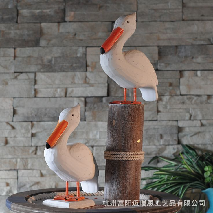 Marine Decor Wood Carving Mediterranean Style Stumps Painted Seabird Creative Home Decoration