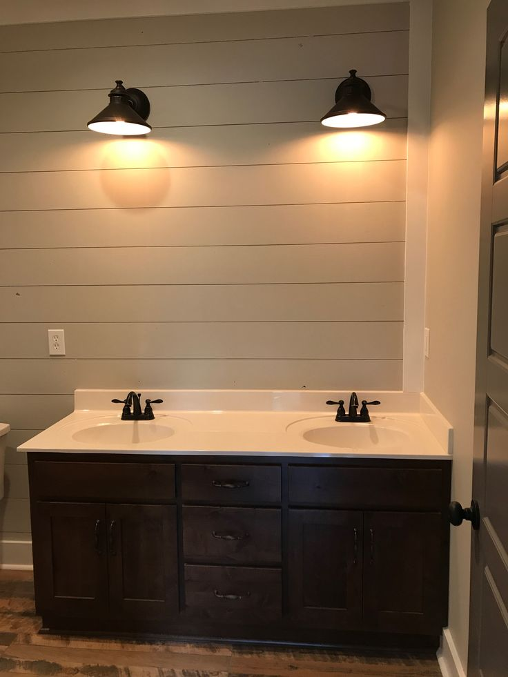 Upstairs Bath Vanity With Shiplap Wall Sw Repose Gray