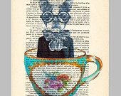 Dog in a cup- ORIGINAL ARTWORK Hand Painted Mixed Media on 1920 famous Parisien Magazine 'La Petit Illustration' by Coco De Paris    obsessed with all of these prints. definitely will be ordering some for the house! the hard part will be picking which ones!