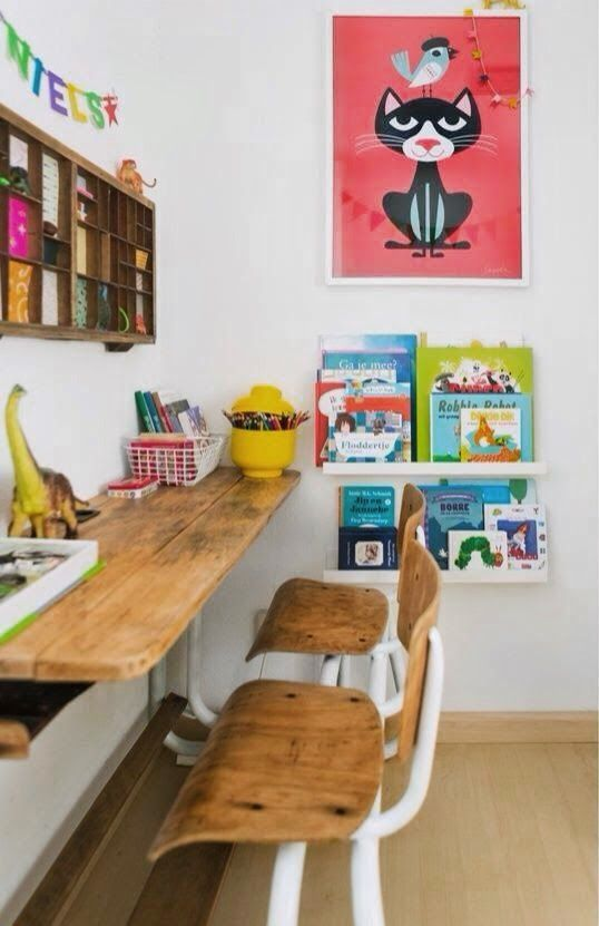 creative work space for kids, love the vintage school house style chairs