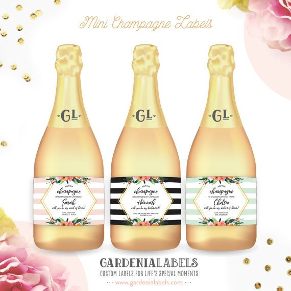 Pop The Champagne I'm Changing my Last Name Mini Champagne Labels. Perfect addition to any Bridesmaid Box! Available in Mini Champagne and Regular Champagne sizes. Personalized wine and champagne labels by GardeniaLabels on Etsy. Shop now!