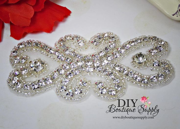 Flower girl rhinestone Headband Applique Sash Applique - Lovely Rhinestone applique - Crystal Applique bridal wedding garter applique - N170 by DIYBoutiqueSupply on Etsy https://www.etsy.com/listing/537314340/flower-girl-rhinestone-headband-applique