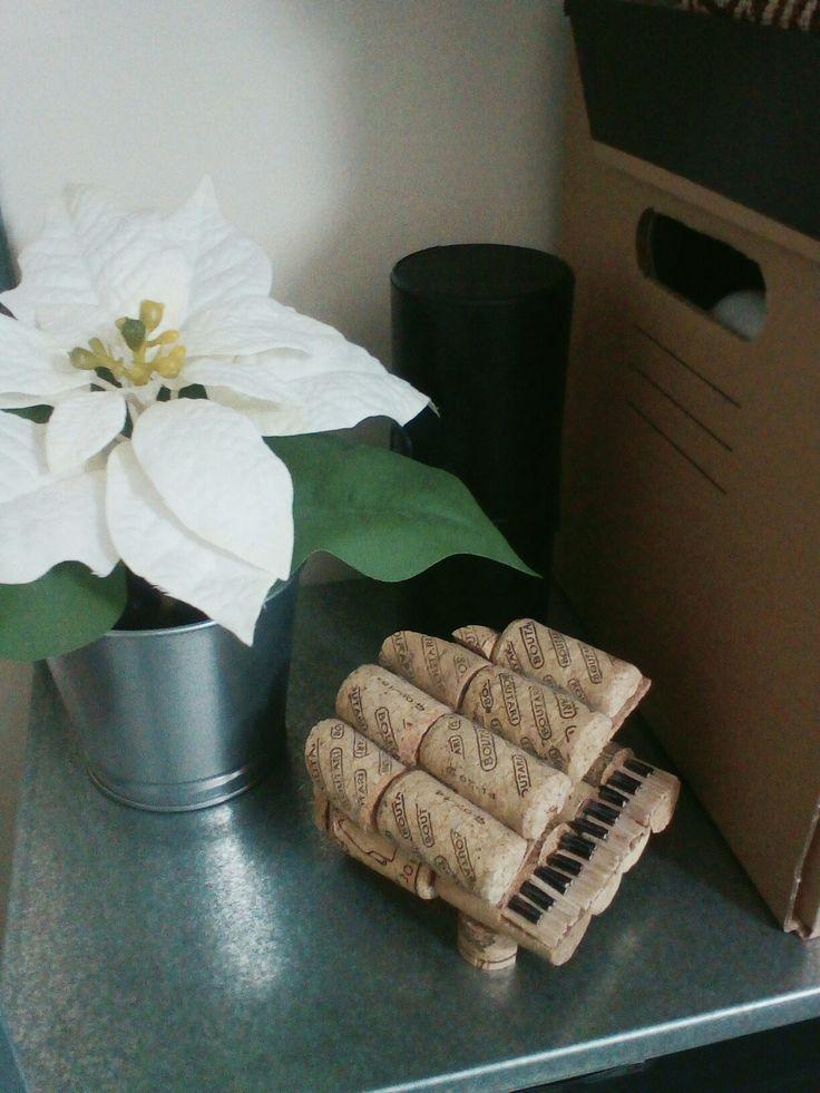 Decor: Flowers, diy piano made of corks.
