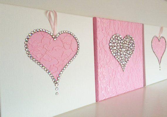 Herz Wand Kunst Set Aus 3 Rosa Und Weisse Madchen Zimmer Handgemachte Leinwande Heart Wall Art Valentine Wall Art Girls Wall Art