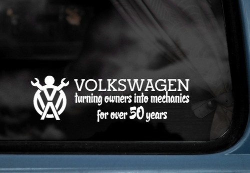 Volkswagen turning owners into mechanics for over 50 years vw decal sticker