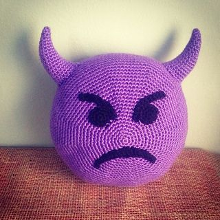 """Emoji Imp Pillow ' free crochet pattern by Wendy Smalley. 9"""" approx."""