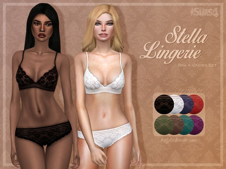 Here is sexy lingerie set from Stella McCartneys collection. It comes as a bra and undies separated, so you can mix and match with different gaments. Thanks to the patches on the bust and crotch...