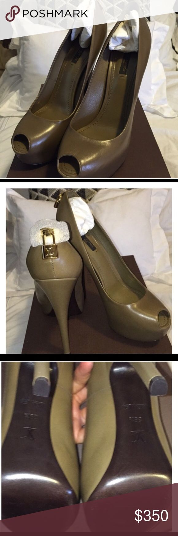 Authentic Louis Vuitton Oh Really Pump-Olive 9.5 Sexy never worn except to try on. Unfortunately I purchased from another posher and my foot does not fit but the shoe is gorgeous! Note it states 9.5 and I am a true 9.5 but will likely fit a size9 best! Don't miss out on this fall pump that is a must have! Louis Vuitton Shoes Heels