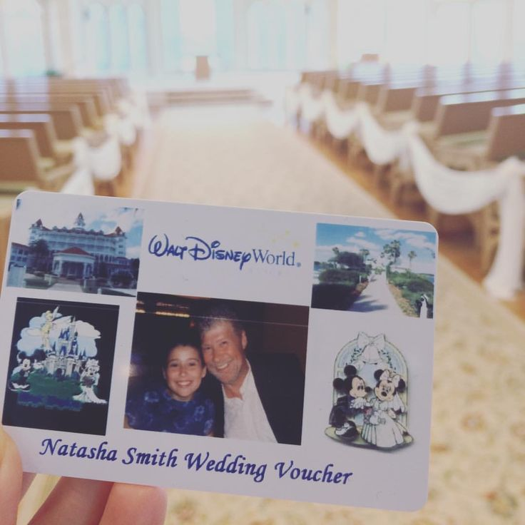 """When Natasha was 10 years old, she saw Disney's Wedding Pavilion from the monorail and told her father John she would someday say """"I do"""" there. John made his little girl a wedding voucher should the time ever come. Tomorrow, Natasha cashes in on her voucher. Congrats on finding your Prince Charming (Brandon), Natasha!  #lovestory #fairytale #wedding #Disney #WaltDisneyWorld"""