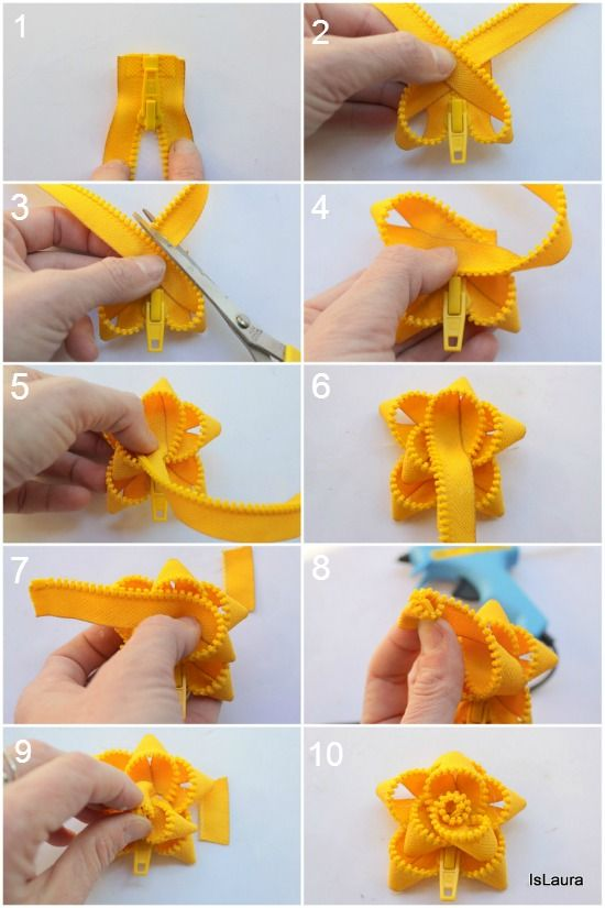 How to make a brooch with a zipper: tutorial