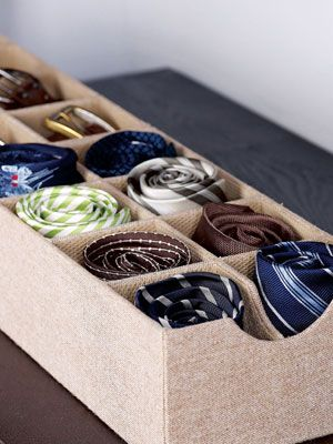 Use Sock Organizers for Ties and Belts  Sure, sock organizers are useful for keeping your drawers in tip-top shape. But they also work just as well for ties and belts too!