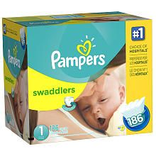 Pampers Swaddlers Size 1 Diapers Super Economy Pack - 186 Count