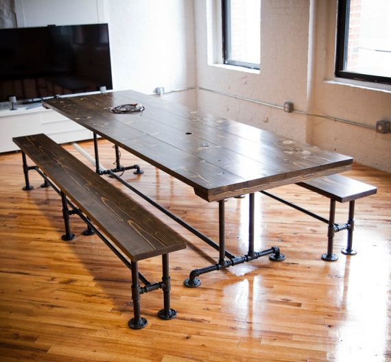 metal pipe base rustic board room table solid wood dining table