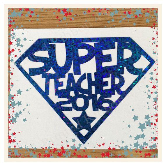 Super Teacher 2016 Vinyl Glass Decal Shadow Box by PrintedRibbon4U