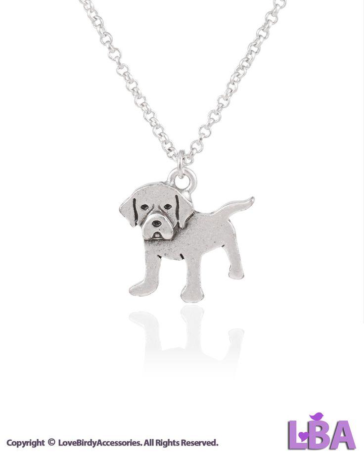 Labrador Retriever Puppy Jewelry: Vintage Silver Tone Labrador Retriever Puppy Pendant Necklace