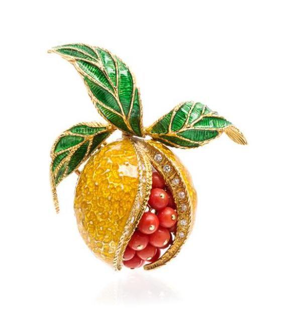 An 18 Karat Yellow Gold, Coral, Diamond and Polychrome Enamel Pomegranate Brooch