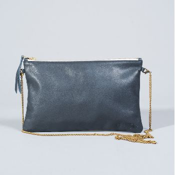 1951 Maison Francaise  Navy Clutch: Gorgeous clutch bag by French label, 1951 Maison Francaise. Secure zip fastening, dotted lining, detachable gold chain shoulder strap, vintage inspired accessory.