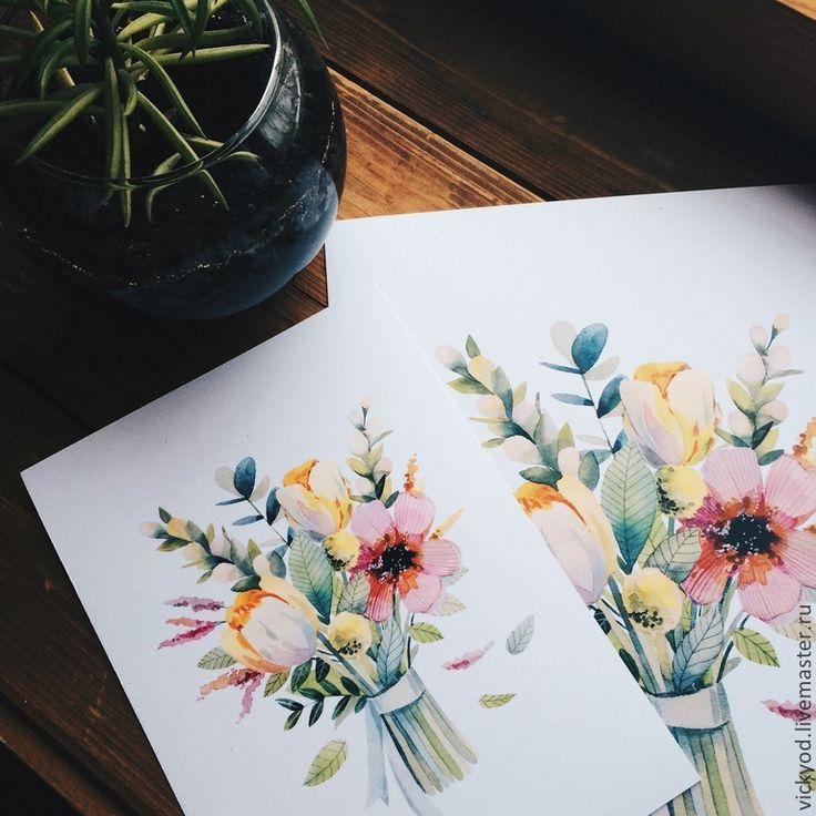 Купить Весенний букет - жёлтый, цветы, букет, природа, иллюстрация, акварель, арт, постер, открытка