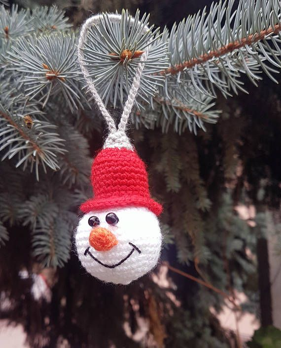 There are adorable Christmas snowman ornaments. They are crocheted from acrylic yarn and filled with fyberfill. You can hang it on the Christmas tree. ------------------------------------------------------------------------------------------- They are is approximately 7 cm (2.7 inches)
