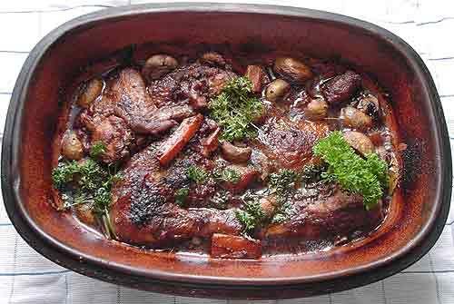 Rezept Coq au Vin - Huhn in Weinsoße auf Mamas Rezepte Homepage