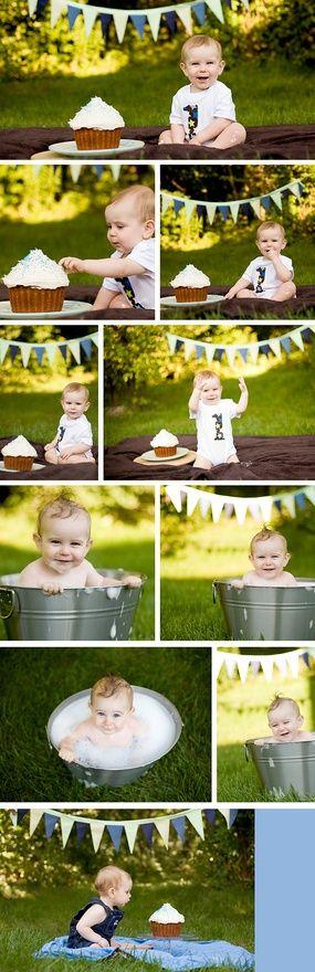 Primeiro aniversário do baby. Sequência de fotos: primeiro se lambuza com o bolo e depois vai se limpar no balde! Genial! #bebê #foto #álbum