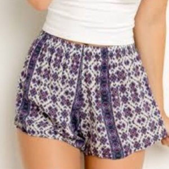 Purple printed brandy Melville shorts Soft printed brandy Melville shorts! Size small. Brandy Melville Shorts