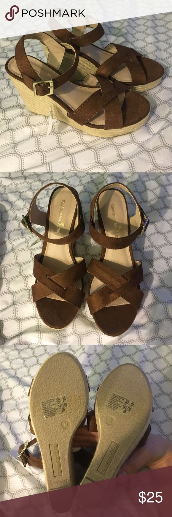 Montego Bay Club Wedges Dress it up or dress it down, perfect for any warm weather outfit! This shoes features a crisscross upper, ankle sling with adjustable strap, smooth lining and a woven wedge! Never worn before! Shoes Wedges