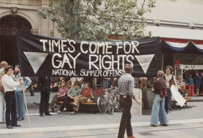 """Summer Offensive"" Gay Rights demonstration, Melbourne, c.1980. Photograph by Graham Willett. [Photograph]"