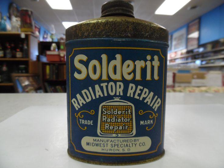 Solderit Radiator repair tin, Huron SD tin, vintage automobilia tin, vintage auto tin, old car repair tin by bullseyecollectibles on Etsy