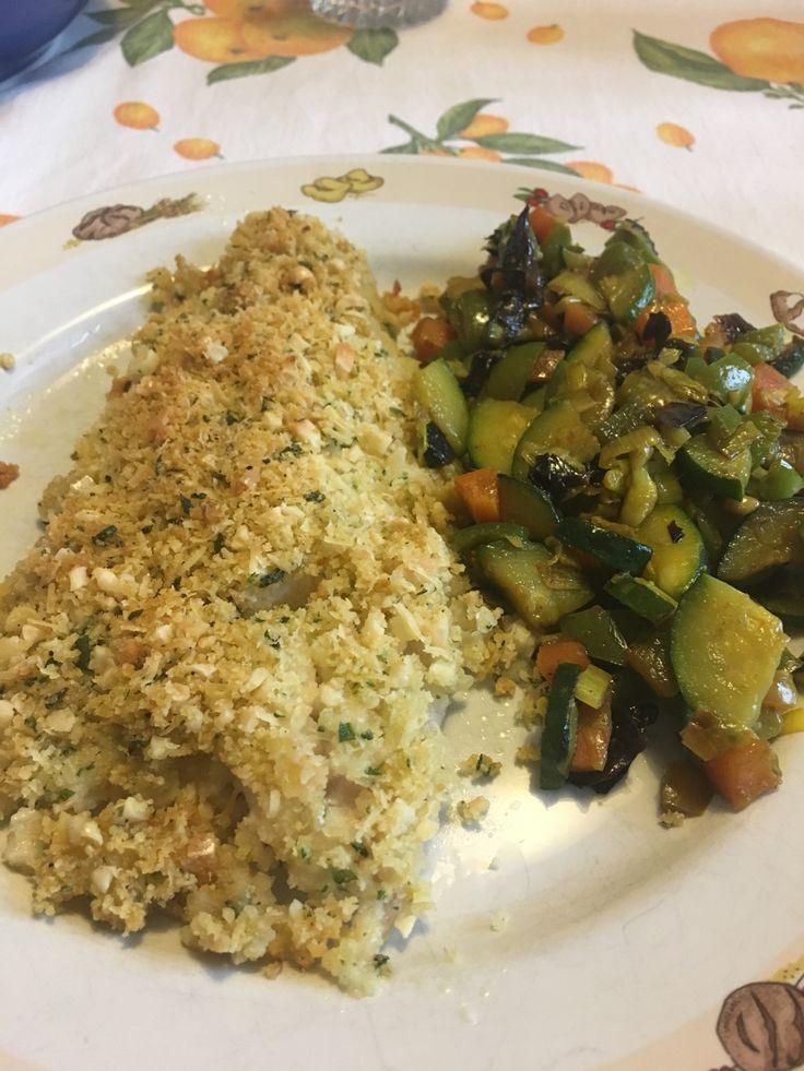 Merluzzo gratinato con mandorle e nocciole -Gratin codfish with almond and hazelnuts